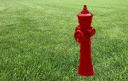 Red hydrant in a green meadow - concept image with copy space Stock Photography