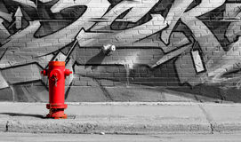 Red hydrant in Montreal Stock Photography