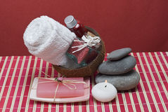 Red hygiene items. Some hygiene items on a red bamboo mat Stock Image