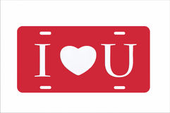 Red I Heart You License Plate. Illustration with white background and lettering Royalty Free Stock Image