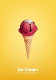 Red Ice cream in the cone, Strawberry, raspberry, Pour chocolate syrup, Vector Royalty Free Stock Photography