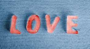Red ice cubes as the word Love Royalty Free Stock Photo
