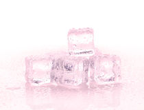 Red ice cubes on the white background. Red ice cubes on the white Royalty Free Stock Photos