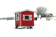 Red ice fishing cabin Royalty Free Stock Photography