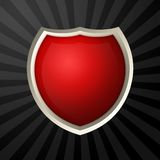 Red icon. Blank red icon with metal border over ray background stock illustration