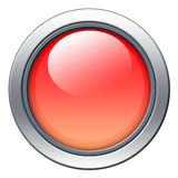 Red icon. Blank red icon with metal border isolated on white vector illustration