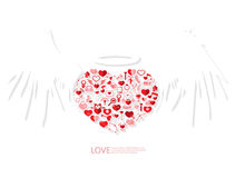 Red icon heart angel valentines day card with sign on Icon love Royalty Free Stock Photos