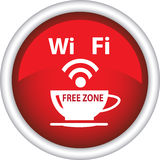 A red icon with the image of a cup of coffee and Wi Fi Royalty Free Stock Photo