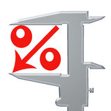 Red icon percent down Royalty Free Stock Photos