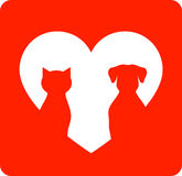 Red icon with pet and heart Royalty Free Stock Photography