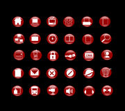 Red icon set for website Stock Image