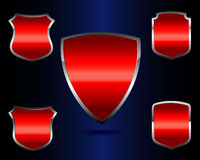 Red icon shield Stock Photography