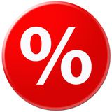 Red icon with symbol of rate Stock Photo