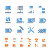 Red, iconos del servidor y del recibimiento Imágenes de archivo libres de regalías