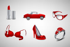 Red icons. Vector red female icons on grey Stock Images