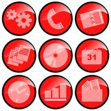 Red Icons. Representing communication and organization vector illustration