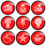 Red Icons. For office usage, various symbols vector illustration