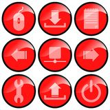 Red Icons. Showing various tools and computer commands royalty free illustration