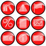 Red Icons. Red money and business icons isolated on a white background royalty free illustration