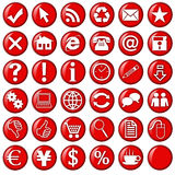 Red icons & buttons for website. Black icons & buttons for web Royalty Free Stock Photography