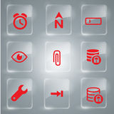 Red Icons Collection Vector. Glass icons vector illustration for you design Royalty Free Stock Images