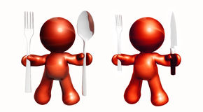 Red icons with dining utensils Stock Photo