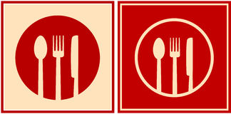 Red icons with plate, spoon, fork and knife Stock Photography