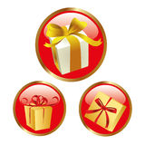 Red icons with presents Royalty Free Stock Images