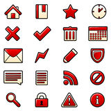 Red icons set Royalty Free Stock Image