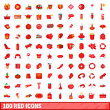 100 red icons set, cartoon style Stock Images