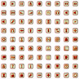 Red icons set isolated on white Stock Photos