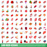 100 red icons set, isometric 3d style Stock Images