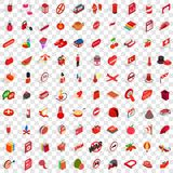 100 red icons set, isometric 3d style Royalty Free Stock Image