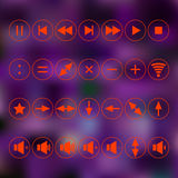 Red icons. use in everyday life. signs - addition, multiplication, division, as well. Arrow keys - up, down, left, right Stock Photo