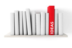 Red Ideas Book on a shelf with another blank books Stock Image