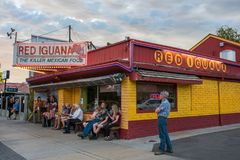 Red Iguana in Salt Lake City. Salt Lake City, Utah: July 17, 2017: Red Iguana in Salt Lake City, Utah. Red Iguana is a very popular Mexican restaurant in Salt Royalty Free Stock Photo