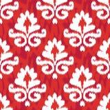 Red Ikat Damask. Ikat Damask Seamless Background Pattern royalty free stock image