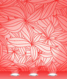 Red illuminated floral wall Royalty Free Stock Photography