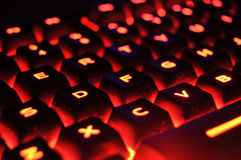 Red Illuminated Keyboard Stock Photos
