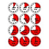Watches icon set 2. Red  illustration, increments from 1 to 12, one hour or 5 minutes interval, 4 rows and 3 columns on white background, for business or Stock Images