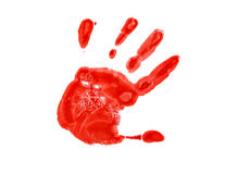 The red imprint of the left hand Royalty Free Stock Photo