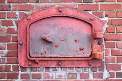 Red Incinerator Door Stock Photography