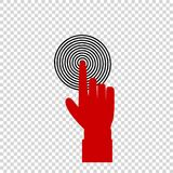 Red index finger pointing to the target business concept. Vector illustration of index finger pointing to the target, business concept, red hand with index Royalty Free Stock Photo