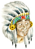 Red Indian chief. Red Indian surprised chief wearing traditional headdress Royalty Free Stock Images