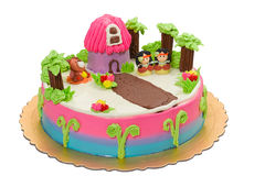 Red indian children cake isolated