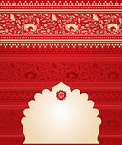 Red Indian floral saree banner Royalty Free Stock Image