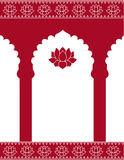 Red Indian gate background. Red Indian traditional architecture background with lotus flowers and space for text Stock Images