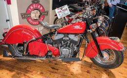 1953 red Indian motorcycle at Motorclassica
