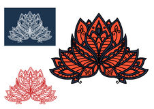 Red indian paisley flower with oriental ornament Royalty Free Stock Photo