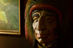 The red indian sculptured wood. Royalty Free Stock Photo